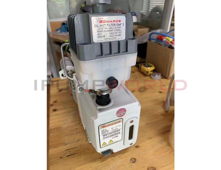 Used Edwards E2M1.5 Rotary Vane Dual Stage Mechanical Vacuum Pump, 1P, 50/60 Hz, IEC 60320