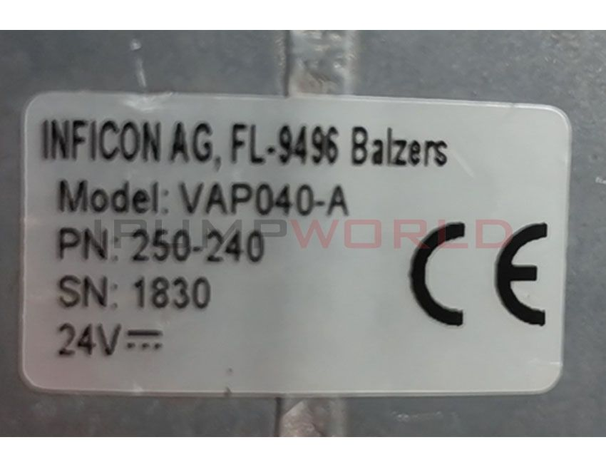 Used inficon VAP040 Pneumatic Angle Valve